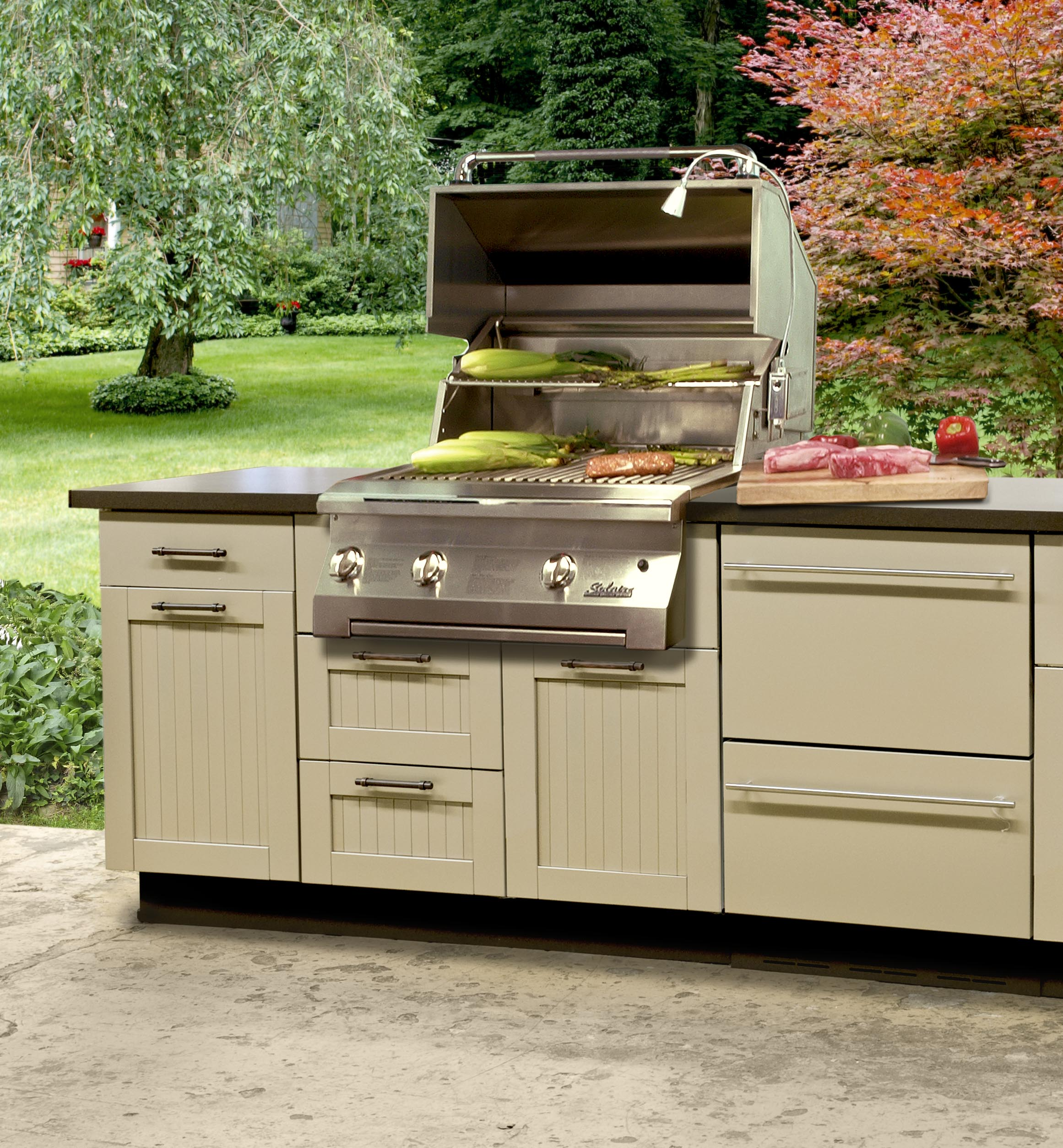 Danver stainless steel cabinetry kbtribechat for Outdoor kitchen cabinet plans
