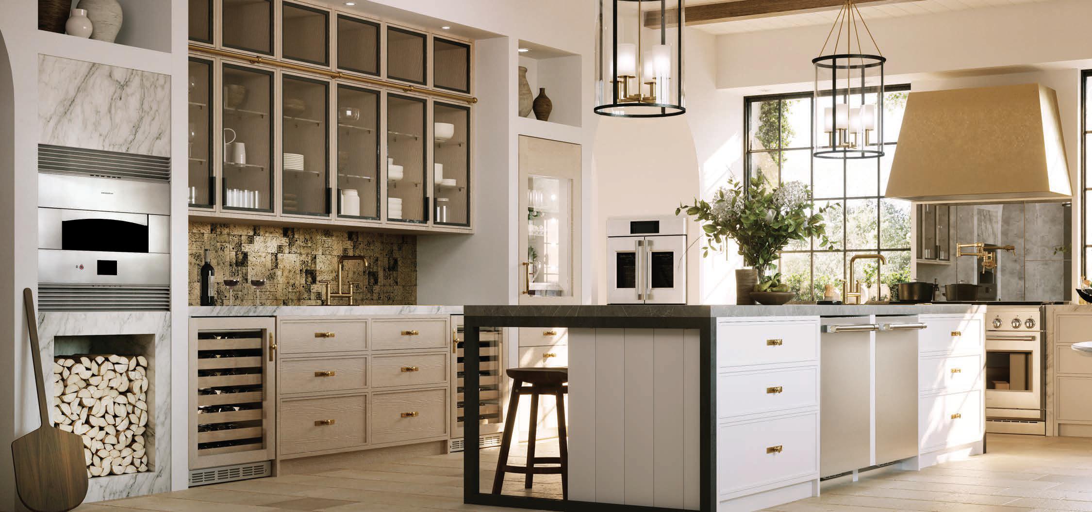 Monogram Statement Kitchen with Brass Finish Hood