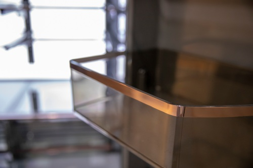 CAFE MULTI-DOOR REFRIGERATOR SHELF WITH COPPER ACCENTS
